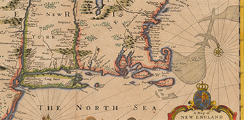 1676 John Speed. New England and New York (Detail).