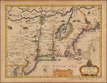 1676 John Speed. New England and New York.1676 John Speed. New England and New York.