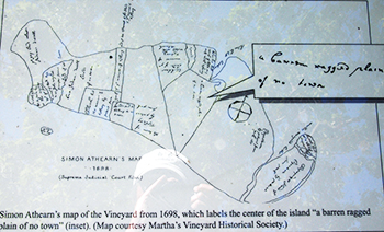 "1698 Simon Athearn. ""Original"" version of his annotated map of Martha's Vineyard."