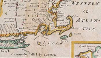 1700 Wells. A New Map of the Most Considerable Plantations of the English In America (Detail).