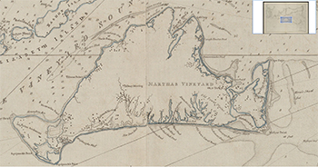 1781 Des Barres. Coast of New England from Chatham Harbor to Narraganset Bay (detail of the Vineyard and three windmills).