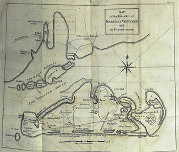 1784 Crèvecœur. Map of the Island of Martha's Vineyard with its dependencies.