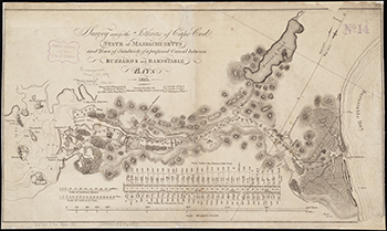 1826 U.S. Engineers. Plan for the Cape Cod Canal between Buzzard's and Barnstable Bays.