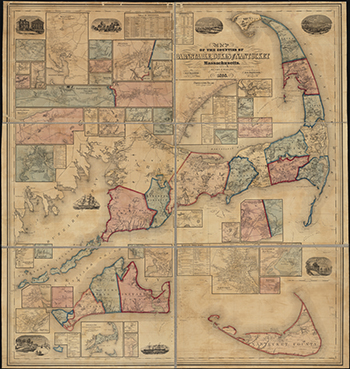 1858 Walling. Barnstable, Dukes and Nantucket Counties.
