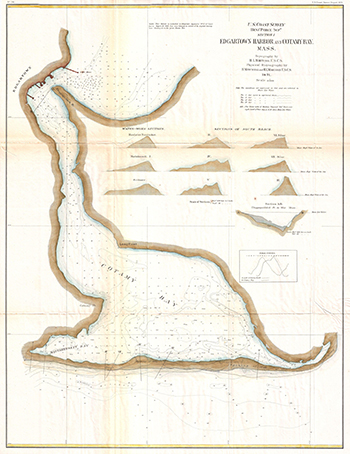 1871 US Coastal Survey. Edgartown Harbor and Cotamy Bay.
