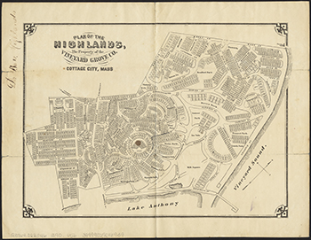 1890 Vineyard Grove Company. Plan of the Highlands, Cottage City.