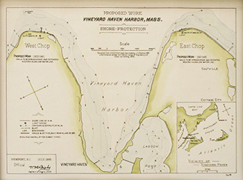 1893 US Engineers. East and West Chop Shore Protection with Vineyard Haven Harbor.
