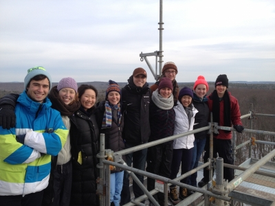 Summer Research Program students on top of a tower at Harvard Forest