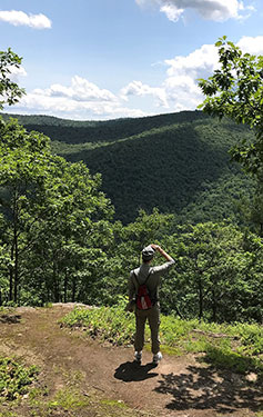 [Scenic outlook at summit of Todd Mountain from our sampling field day at the Mohawk Trail State Forest. Photo by Dave Orwig]