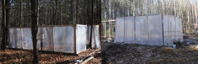 [November 12 - the first chambers are wrapped. Here, two of the hot plants chambers, one in a gap (right) and one in the understory (left), are illustrated. Note that the gap chambers are taller to account for faster plant growth in the gap.]