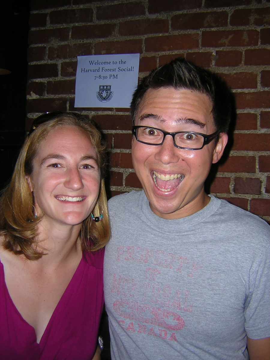 [Naomi Clark and Matt Lau, both REU alumni from '03, were excited to re-connect at this event]