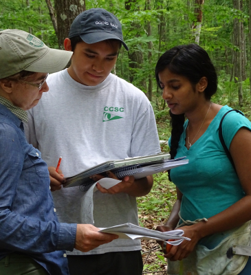 2 students reading datasheet in forest
