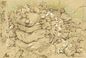 Drawing of large rocks found at Littlefield Farm