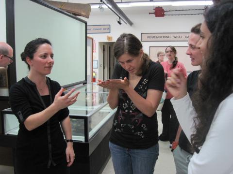2010 Artist-in-residence Regan Golden-McNerny explains her work to REU students