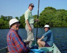 Researchers analyze pollen and spores in lake-sediment core