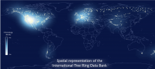 A map of the world highlighting locations of tree ring data banks.