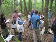 A group of people on a field walk led by Harvard Forest ecologist