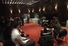 """A reception called """"Science for a Sustainable world"""" featuring speakers."""
