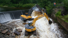 Construction equipment in a dam.