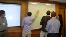 "A group of people working together at a workshop called ""Scenarios to Simulations"""
