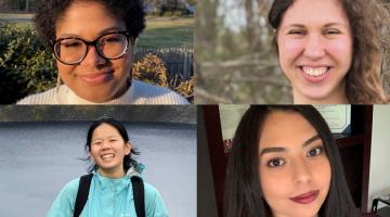 Grid of 4 student award winners: Eleanna Cerda (top left), Elise Miller (top right), Amy Li (bottom left), Jolene Saldivar (bottom right)