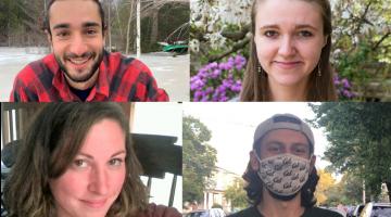headshots of four graduate student research award winners (top left: Thomas Muratore; top right: Sophie Everbach; bottom left: Amanda Suzzi; bottom right: Nikhil Chari)