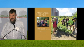 Screenshot from Food Summit livestream showing speaker Brian Donahue at podium at left and report cover of New England Food Vision at right, which shows a diverse group of young people harvesting garden food