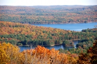 Lakes surrounded by trees during the fall.