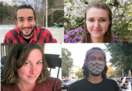 headshots of four graduate student research award winners (top left: Thomas Muratore; top right: Sophie Everbach; bottom left: Amanda Suzzi; bottom right: Nikhil Chari)