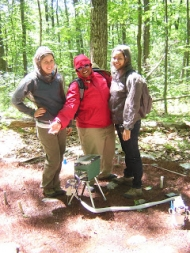 Maya, Joanna, and Claudia using a Portable Photosynthesis System.