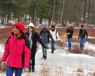 Students on winter break at Harvard Forest