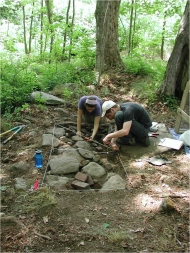 Summer students mapping at Harvard Forest