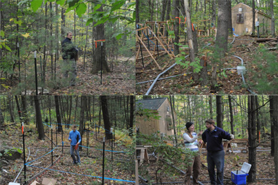 [October is being spent framing the chambers, laying conduit for electrical supply and data controllers, and enjoying the fall foliage. Clockwise from top left: Mark Van Scoy in an ant chamber; Conduits in the forest; Sarah Butler and Paul Frankson discussing plant chambers; Greta Turschak laying out warming cables in plant chambers.]