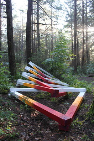 [Fast Forward Future, installation at Harvard Forest, 4 x 8 x 26 feet, wood, acrylic paint, and assorted hardware, 2017. Collaborators: Jack Byers, Dr. Aaron Ellison, Salvador Jiménez-Flores, and Salua Rivero.]