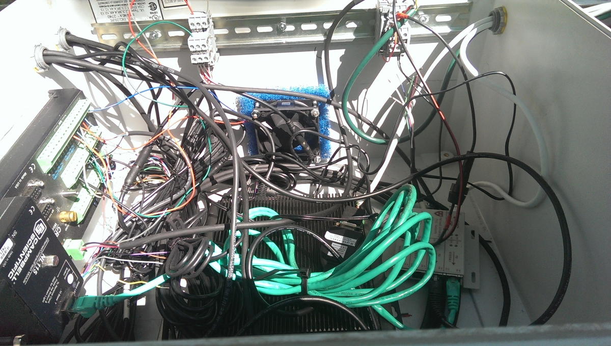 [Here is the rat's nest of wires that is in the aerial tram box.]