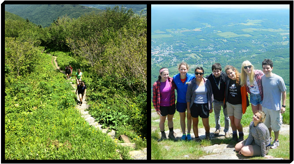 [Hiking Mount Greylock (left) and the group at the top (right). Yours truly is the goofy blond in mom jeans.]