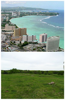 [Views from Tumon Bay, Guam (top) and the Harvard Farm (bottom). Picture credits: John Jocson and Jenny Hobson]