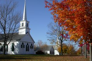 [Sugar maple and Unitarian Church, New Salem.]