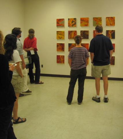 """Research staff view 2010 Artist-in-residence David Bryant's """"Red Eft Grid"""""""