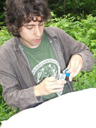 Aaron taking samples