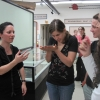 2010 Artist-in-residence Regan Golden-McNerny explains her work to REU students
